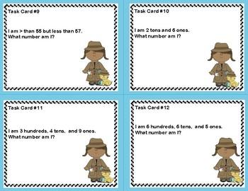 Math Task Cards- Number Detective Grade 2