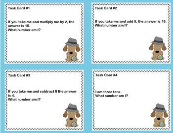 Math Task Cards- Number Detective Grade 2 Freebie