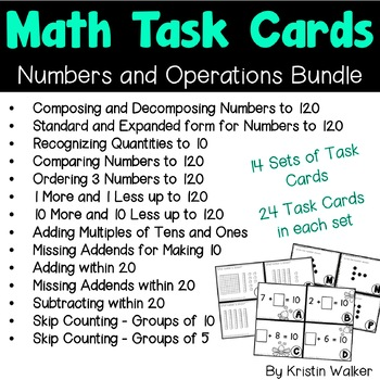 Math Task Cards - Numbers and Operations Bundle