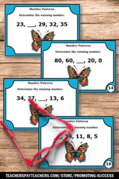 Addition and Subtraction Task Cards, Number Patterns, Sequencing Numbers Games