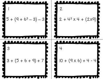 Math Task Cards - Order of Operations