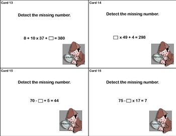 Math Task Cards-Order of Operations-Detect the Missing Number