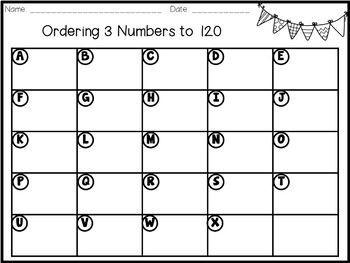 Math Task Cards - Ordering 3 Numbers to 120
