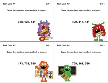 Math Task Cards-Ordering Three-Digit Numbers-Smallest to Largest