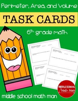 Math Task Cards (Perimeter, Area, and Volume) - 6th Grade Math