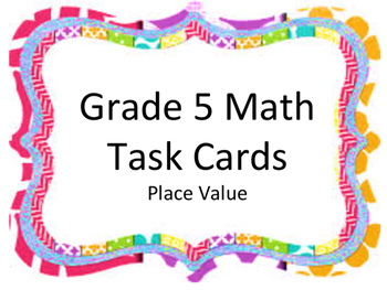 Math Task Cards Place Value