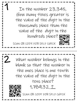 Math Task Cards: Place Value COLOR and BLACK & WHITE OPTIONS