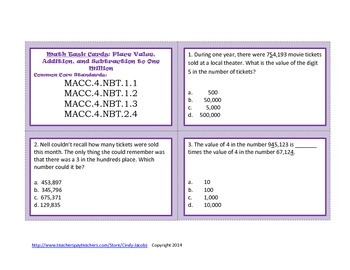 Math Task Cards Place Value, Addition and Subtraction to One Million