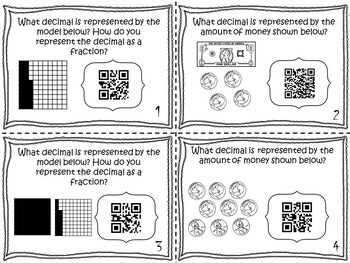 Math  Task Cards: Place Value Decimal Models TEKS 4.2E&G in COLOR and B&W
