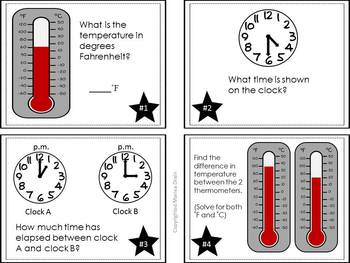Time and Temperature: Math Task Cards and PowerPoint Show