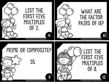 Prime and Composite Numbers/Factors and Multiples Task Cards