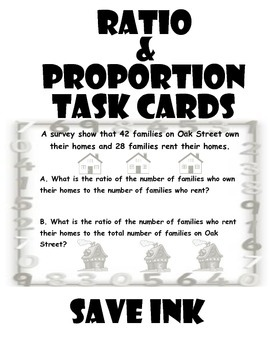 Math Task Cards-Ratio and Proportion-Save Ink