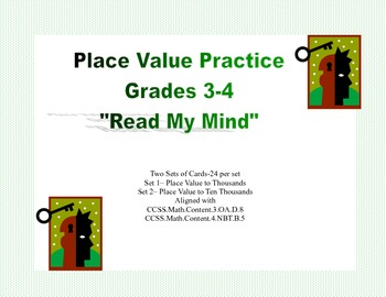 Math Task Cards- Read My Mind Place Value Practice Grades 3-4