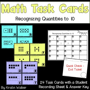 Math Task Cards - Recognizing Quantities to 10