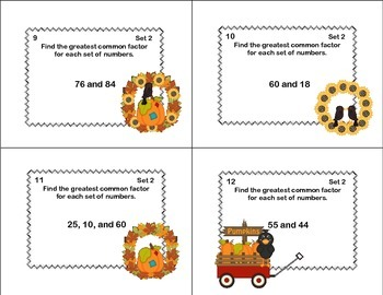 Math Task Cards Review  -Greatest Common Factor- Fall Theme