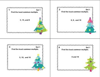 Math Task Cards Review  LCM's and GCF's- Christmas Tree Theme