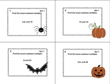 LCM's and GCF's- Halloween Theme-Math Task Cards Review