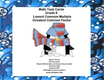 Math Task Cards Review  LCM's and GCF's- Winter Theme