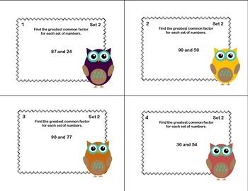 Math Task Cards Review  LCM's and GCF's- Owl Theme