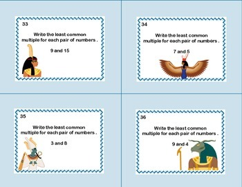 Math Task Cards Review Prime Numbers, LCM's,and GCF's-Egypt Theme