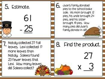 Math Task Cards SCOOT Bundle 3rd 4th grade TEKS CCSS Holidays Seasons