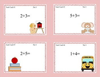 Math Task Cards- School Theme-Grades 1-2 Add Subtract within 20