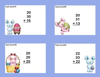Math Task Cards Second Grade Adding Three and Four Two-digit Numbers Bunny Fun