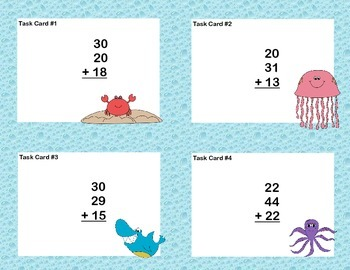 Math Task Cards Second Grade Adding Three and Four Two-digit Numbers Ocean Theme