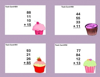 Math Task Cards Second Grade Adding Three and Four Two-digit Numbers- Cupcakes