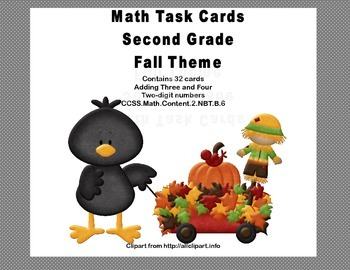 Math Task Cards Second Grade Adding Three and Four Two-digit Numbers Fall Theme