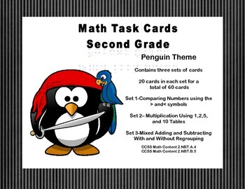 Math Task Cards-Second Grade Review Penguin Theme