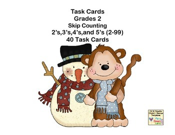 Math Task Cards-Skip Counting Second Grade 2's,3's,4's,and
