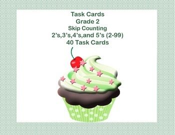 Math Task Cards-Skip Counting Second Grade- Cupcake Theme