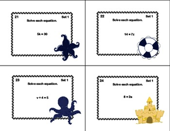 Math Task Cards- Solving  Equations Using Multiplication and Division-6th Grade
