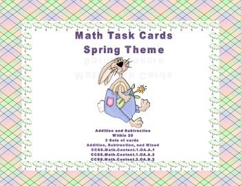 Math Task Cards- Spring Theme-Grades 1-2 Add Subtract within 20