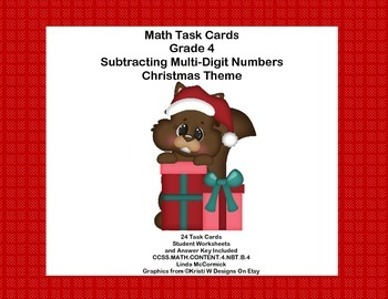 Math Task Cards  Subtracting Multi-Digit Numbers CCSS 4.NBT.B.4  Christmas