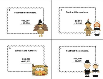 Math Task Cards  Subtracting Multi-Digit Numbers CCSS 4.NBT.B.4  Thanksgiving