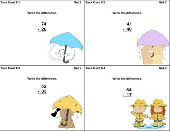 Math Task Cards-Subtracting With Regrouping-2.NBT.B.5 & 3.NBT.A.2 Spring
