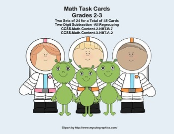 Math Task Cards-Subtracting With Regrouping-2.NBT.B.5 and