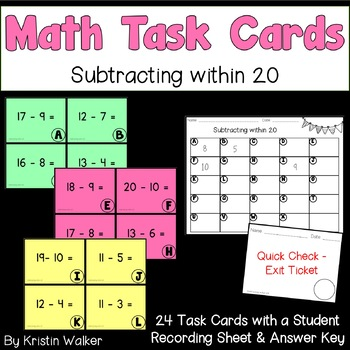 Math Task Cards - Subtracting within 20
