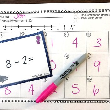 Subtraction within 10 - Ocean Math Center ~ Task Cards - SCOOT