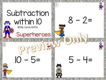 Subtraction within 10 ~ Superhero Math Center ~ Task Cards