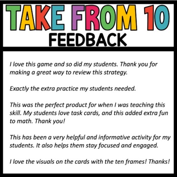 Math Task Cards |Take from Ten Strategy