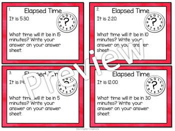 Math Task Cards: Telling Time- Elapsed Time Future