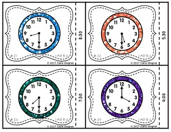 Telling Time to the hour and half hour {1st grade} Math Task Cards
