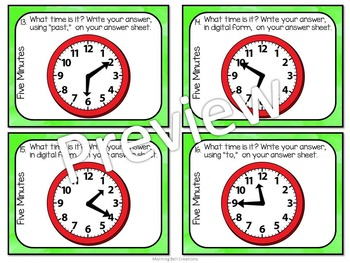 Math Task Cards: Telling Time to the Nearest Five Minutes