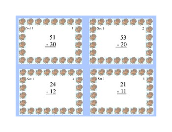 Math Task Cards- Thanksgiving Theme-Subtraction With & Without Regrouping