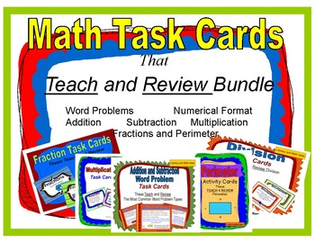 Math Task Cards That Teach and Review Bundle