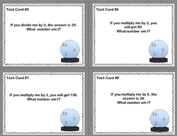 Math Task Cards- The Crystal Ball Says.. Grade 3- Covers 4 CCSS