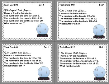Math Task Cards- The Crystal Ball Says... Grades 5-6 Decimals to the Hundredths